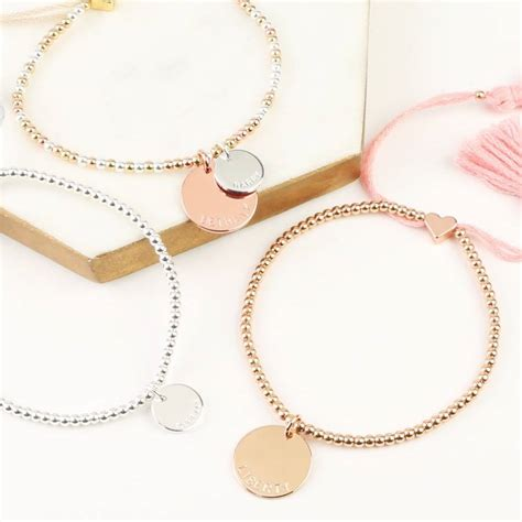 personalised dainty links bracelet with name disc by lisa