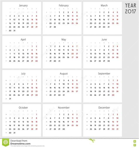Calendrier Lundi Calendrier 2017 Du Lundi Au Dimanche Photo Stock Image