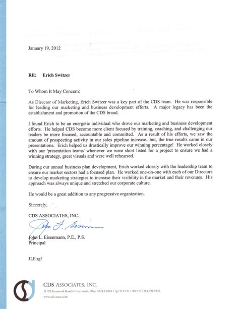 reference letter from eisenmann cds associates