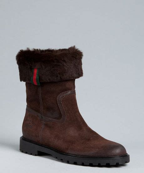 gucci chocolate leather and rabbit fur boots in brown lyst