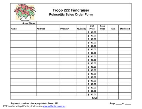 search results for fundraiser order form template