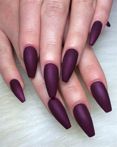 matte colored nails plum berry wine colored matte coffin nails
