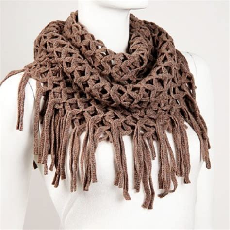 how to add tassels to a knitted scarf nwot khaki mesh knit fringe infinity scarf os from mala s