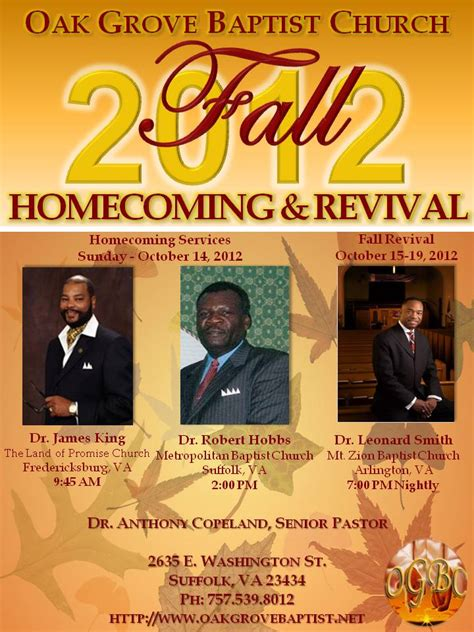 flyer template holy revival church calendar ogbc homecoming