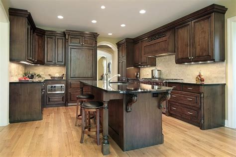 dark kitchen cabinets with light floors 43 quot new and spacious quot darker wood kitchen designs layouts