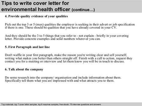 Health Officer Cover Letter by Environmental Health Officer Cover Letter