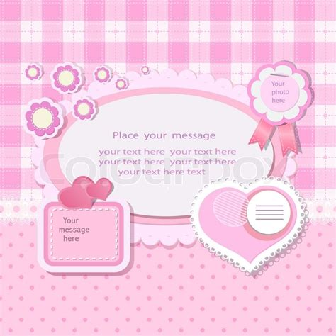 Pink Baby Shower Background by Pink Background With Scrapbook Elements In Vintage Stile