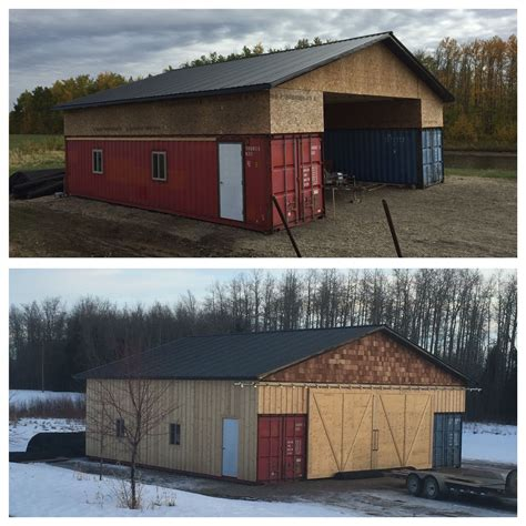 our shipping container seacan barn alberta canada pole