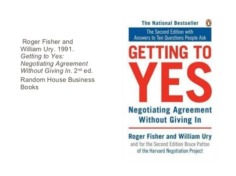 Getting To Yes negotiation getting to yes