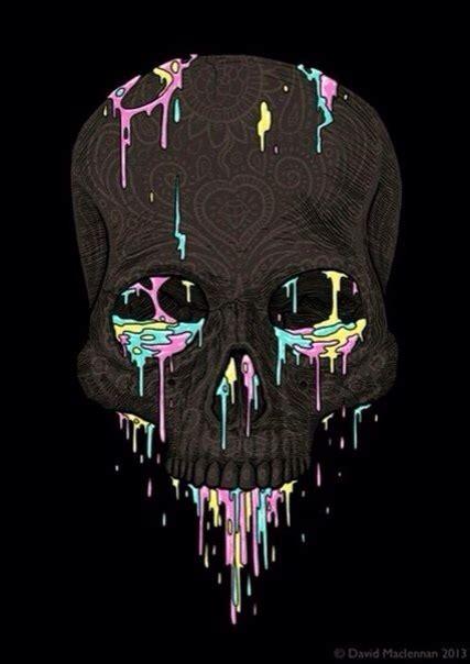 craft skull wallpaper black skull with pastel paint dripping art dark