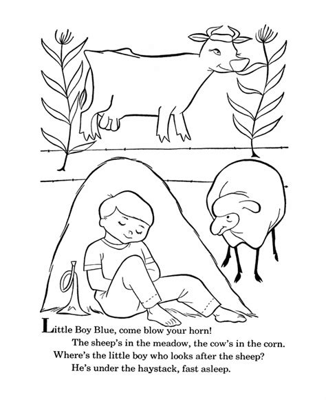 Free Coloring Pages Little Boy Blue | bluebonkers nursery rhymes coloring page sheets little