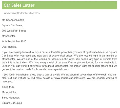 Sle Letter For Product Inclusion Car Sales Letter Free Sle Letters