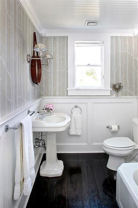 white  gray powder room  wainscoting transitional