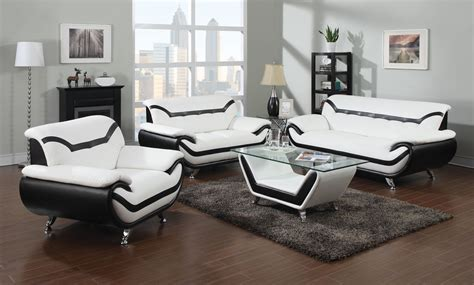 living room with white leather sofa 2 modern white leather sofas with black trim