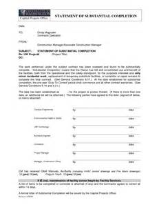 letter of substantial completion free printable documents
