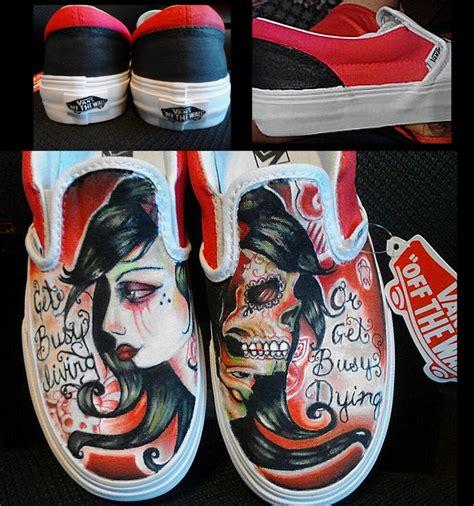 diy custom vans shoes my painted and black theme and sugar skull