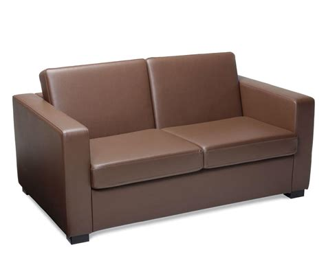 reception couches reception sofa 2 seater brown faux leather for corporate use