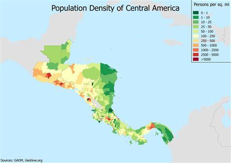 america map population density population density of central america oc 3507x2480