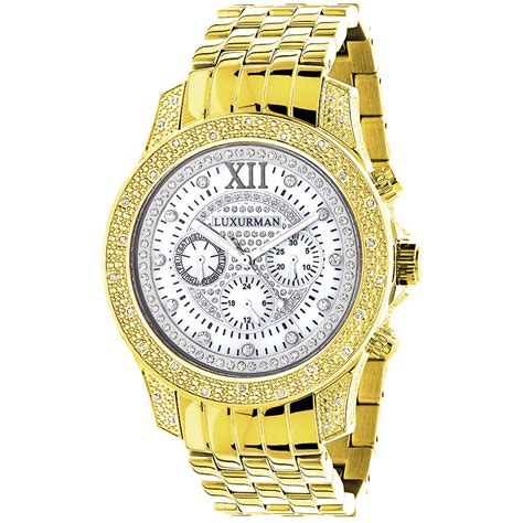 luxurman mens watches raptor yellow gold plated
