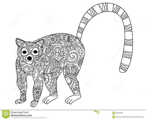 z coloring book for and adults 40 illustrations books ring tailed lemur coloring vector for adults stock vector