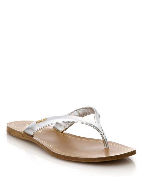 prada sandals lyst prada metallic leather logo sandals in metallic