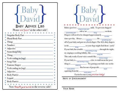 baby shower mad libs printable baby mad libs baby shower ideas