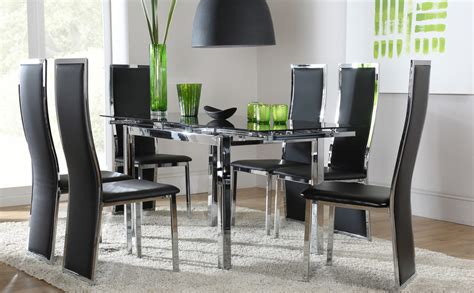 dining room glass table sets space celeste extending glass chrome dining room table 4 6 chair set black
