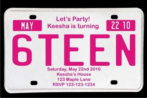 License Plate Invitation Template Sweet 16 License Plate Birthday Invitation Magenta Personalized Party Invites