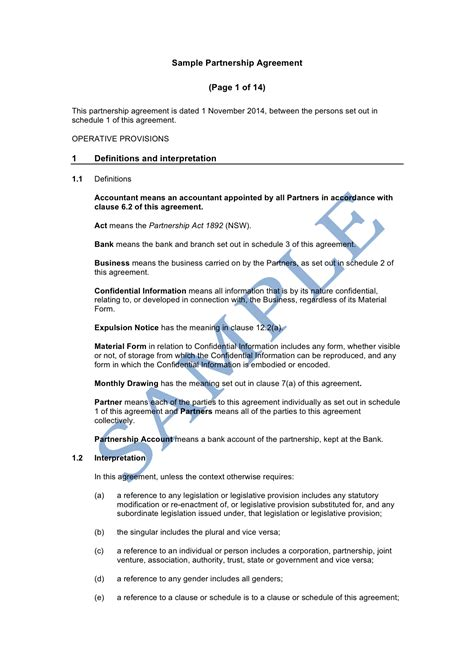 Partnership Agreement Sle Lawpath Partnership Agreement Template