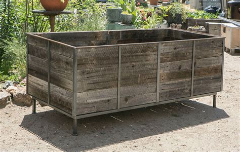 rustic steel frame planters with reclaimed cedar wood