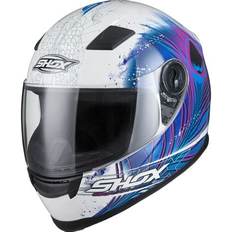 Motorradhelm Pink Damen by Shox Sniper Peacock Full Face Ladies Motorbike Helmet