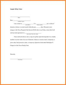 9 30 day notice to vacate letter template notice letter