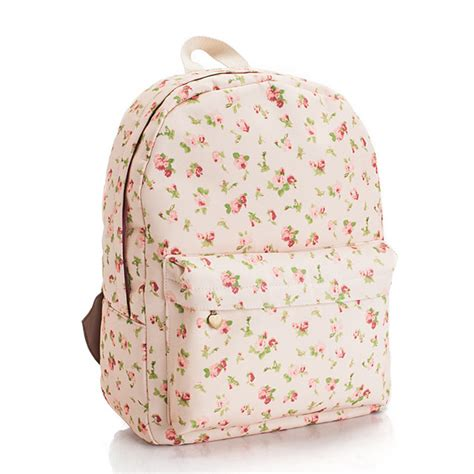 Floral Printed Canvas Backpack floral printed pink canvas backpack 0627005 on luulla