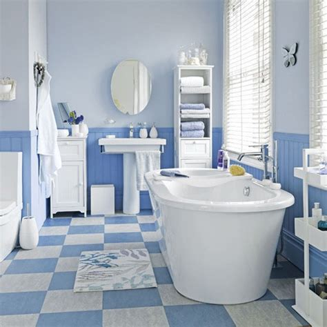 Blue Bathroom Tile Ideas | coastal style blue and white floor tiles bathroom tile