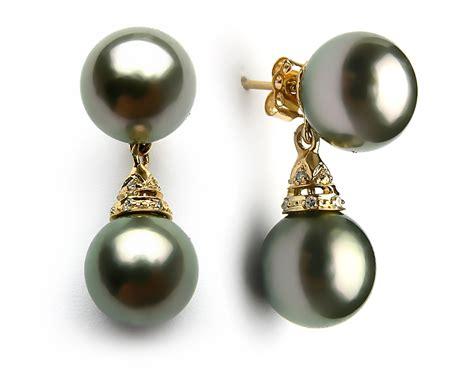 Black Tahitian Pearl Diamond Earring 9mm 10mm Aaa Pearl Black Pearl Hours