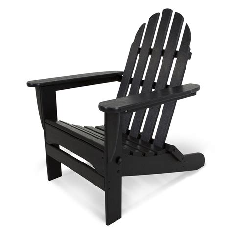 Black Resin Patio Chairs Shop Polywood Classic Adirondack Black Plastic Folding Patio Chair At Lowes