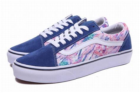 colorful vans vans skool painted blue colorful womens shoes