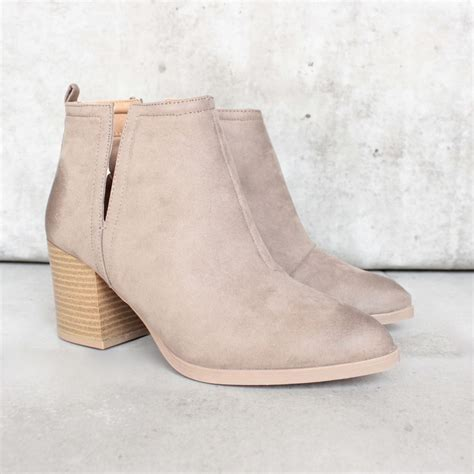 side slit chelsea ankle booties more colors taupe
