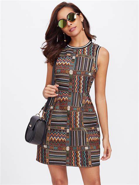 Dresss Sleeveless Tribal Babyterry All Size Modis striped trim tribal embroidered dress shein sheinside