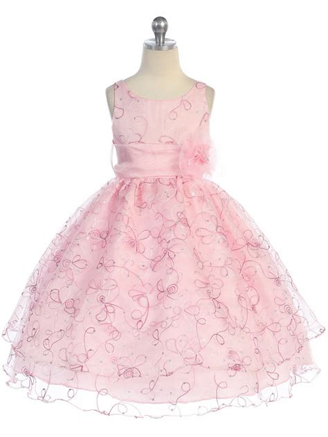 embroidered organza dress pink two layer embroidered organza dress