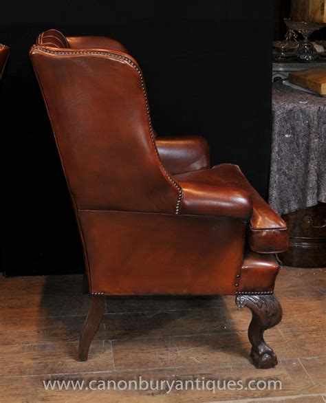 leather wing back chair pair antique wingback chesterfield arm chairs