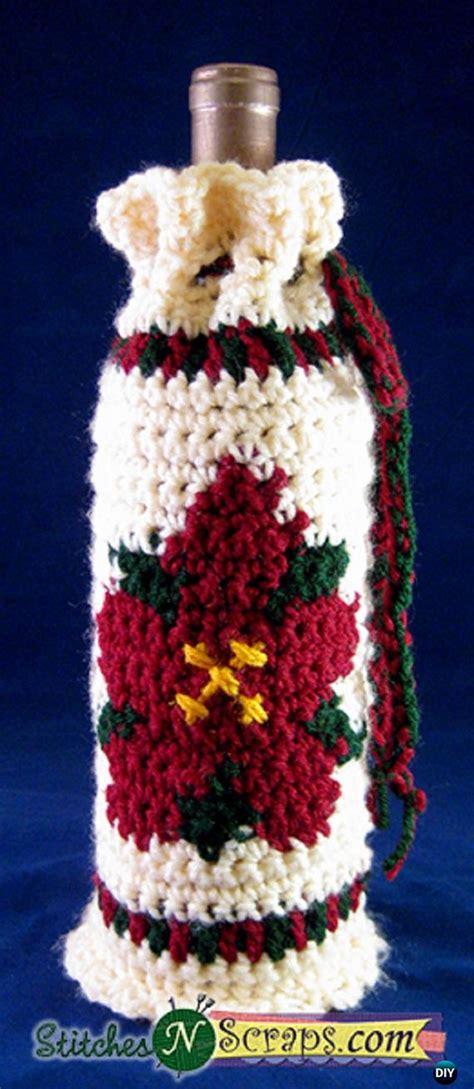pattern for crochet bottle bag crochet wine bottle cozy bag sack free patterns