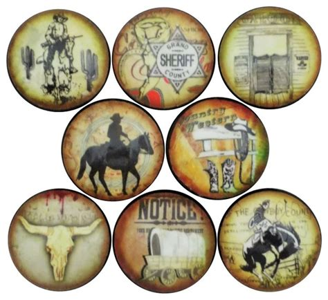 west cowboy cabinet knobs 8 set southwestern