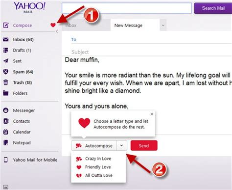 yahoo email not sending auto compose valentine message in yahoo mail
