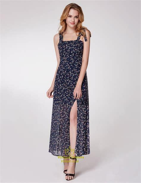 simple square neck sleeveless chiffon floral maxi dress