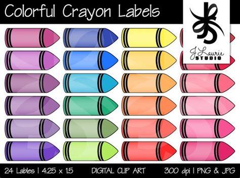 Digital Clipart Colorful Crayon Labels Printable Crayola Etsy Crayon Label Template