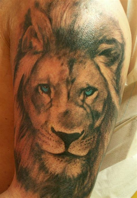 lion tattoo half sleeve awful grey ink on half sleeve