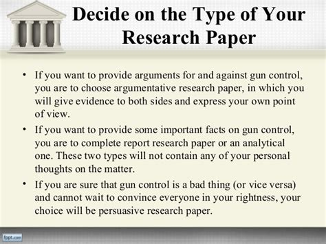 Argument For Gun Essay by Gun Research Paper