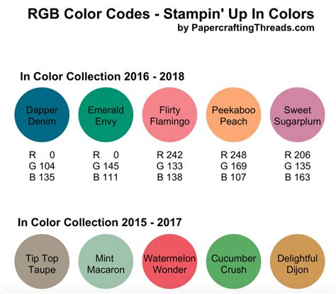 what is the color of 2016 rgb codes for in colors 2016 papercrafting threads