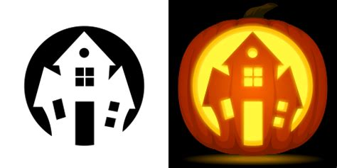 haunted house pattern for pumpkin carving free haunted house pumpkin stencil
